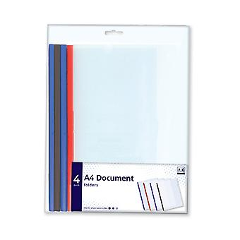A4 Plastic Document Folders Clear Project Pockets 4 Pack
