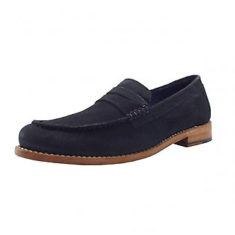 Chatham Marine Mcqueen Men's Goodyear Welted Penny Loafers In Navy Suede