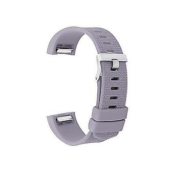 Watch strap for fitbit charge grey silicone rubber sizes small and large