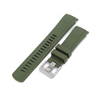Strapcode gummi ur stropp 22mm håndverker blå - cb10 militær grønn gummi buet lug ur bånd for seiko skx007