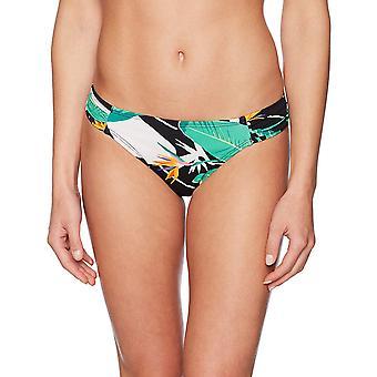 Coastal Blue Women's Swimwear Bikini Bottom, Black Jungle Print, L (12-14)