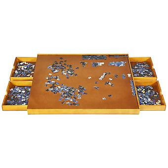 Wooden Jigsaw Puzzle Table Folding Tilting Four Drawers Tabletop 1500 Pieces