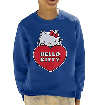Hello Kitty Peeking Above Love Heart Kid's Sweatshirt