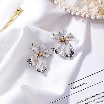 Large Silver Flower Design Statement Earrings