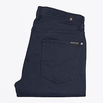 7 For All Mankind  - Slimmy Luxe Sateen Trousers - Dark Blue