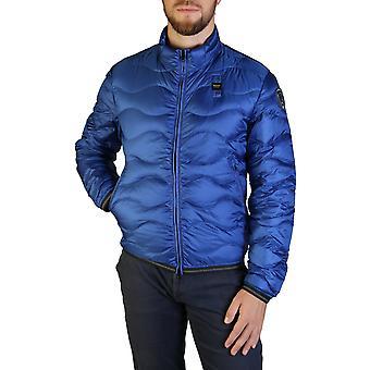 Blauer men's zip bevestiging bommenwerper externe zakken jas