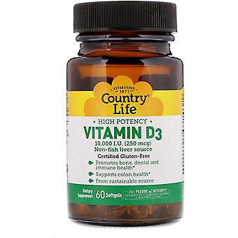 Country Life, High Powerncy Vitamin D3, 250 mcg (10 000 UI), 60 Softgels