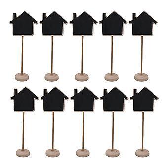 10PCS En bois Mini Stand Tableau noir Décoration Enseigne Maison en forme de maison