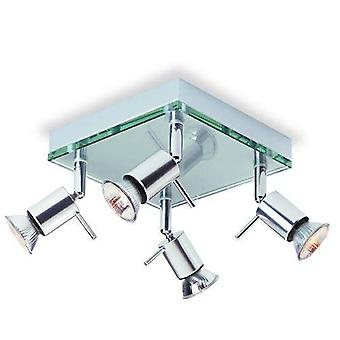 4 Light Square Flush Light Aluminium, Clear Glass, GU10