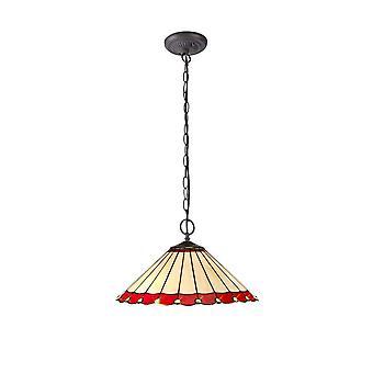 Luminosa Lighting - 2 Light Downlighter Sufit Wisiorek E27 z 40cm Tiffany Shade, Czerwony, Kryształ, W wieku Antyczny Mosiądz