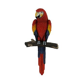 Lifelike Red Blue and Yellow Tropical Parrot On Perch Decorative Wall Hanging