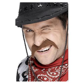 Mens Brown Cowboy Moustache Fancy Dress Costume Accessory