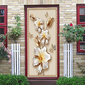 2pcs/set Geometry Door - Auto adhésif, imperméable à l'eau, papier peint amovible