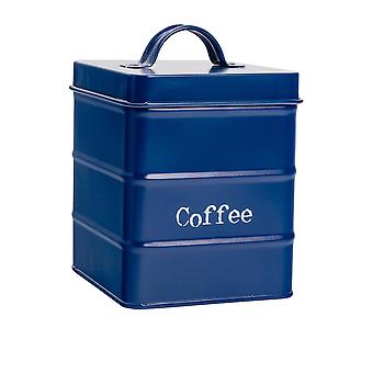 Industrial Coffee Canister - Vintage Style Steel Kitchen Storage Caddy with Lid - Navy