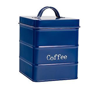 Industriële koffiebus - Vintage Style Steel Kitchen Storage Caddy met Deksel - Navy