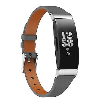 For Fitbit Inspire /Inspire HR Band Luxury Genuine Leather Replacement Wristband[Black]