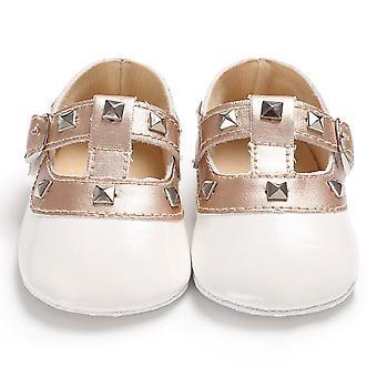 Recién nacido bebé princesa, suela suave, zapatos de correa de hebilla sólida