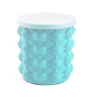 Silicone Ice Bucket Mold Largem With Lid Space Saving Champagne Used