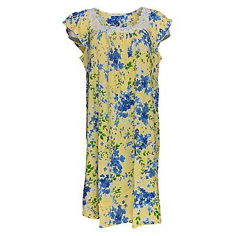 Aria Women's  Sleepshirt Yellow Floral Print Short Sleeve Cotton 637-166