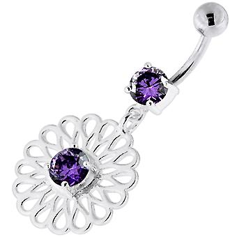 Purple Crystal Stone Center Jeweled Celtic Flower Pattern Dangling Sterling Silver Belly Bars Piercing