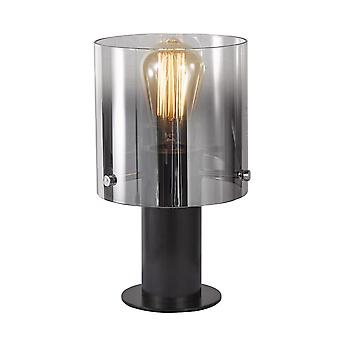 Lámpara de mesa moderna negro, ahumado 1 luz con sombra de cristal, E27
