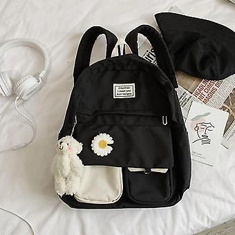 Backpack School Women Nylon Bookbags Soft Solid Panelled Flowers Student