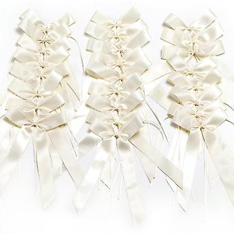 25 Ribbon Bow-knot Wedding Decorations | For Cars Weddings Celebrations Parties Embellishment Bowknots | Cream
