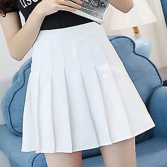A-خط عالية الخصر مطوي تنورة صغيرة Satin Women's Fashion Slim عارضة التنس