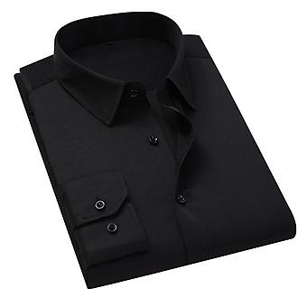 Men Solid Color Business Shirt, Casual Slim, Long Sleeve