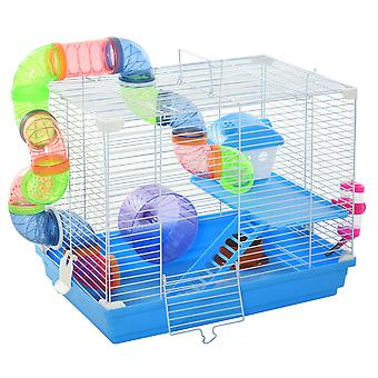 Pawhut 2 Tier Hamster Cage Carrier Habitat Small Animal House with Exercise Wheels Tunnel Tube Water Bottle Dishes House Ladder for Dwarf Mice, Blue