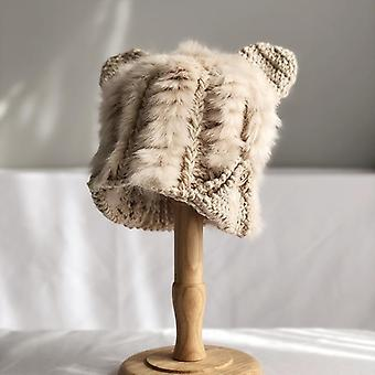 Cute Rabbit Fur Hat, Autumn & Winter Cat Ears Protector Korean Warm Thick Knit