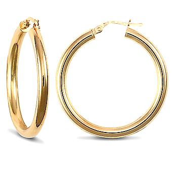 Jewelco London Ladies 9ct Yellow Gold Polished 3mm Hoop Boucles d'oreilles 30mm