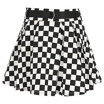 Women's High Waisted Checkered Dancing Korean Style Sweat Short Mini Skirts
