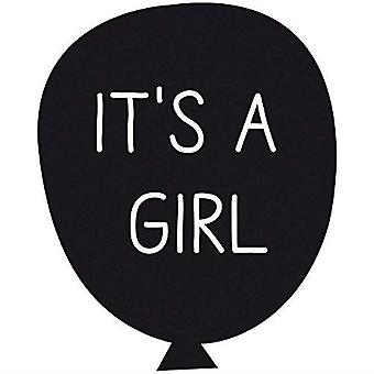 IT'S A GIRL Rubber Stamp in Balloon Craft Scrapbook DIY Gift Tag Card