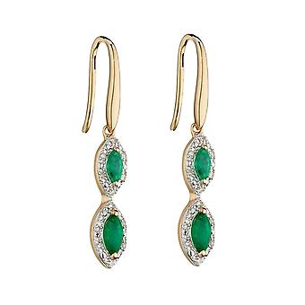 Elements Gold 9ct Recolour Marquise 3 Drop Emerald Yellow Gold Earrings GE2343G