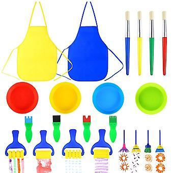Pllieay 22 pieces kids painting brushes sponge drawing set with paint bowls, sponge foam brushes and