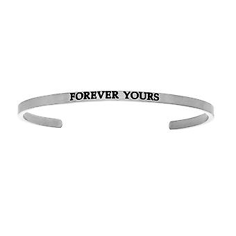 """Intuitions Stainless Steel FOREVER YOURS Diamond Accent Cuff  Bangle Bracelet, 7"""""""