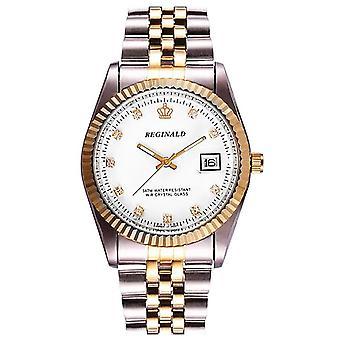 Reginald Mens Homage Quartz Watch White Gold Silver Smart Watches Date Designer Gift