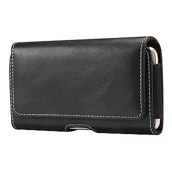 Holster Horizontal Leather with Belt Loop for Fujitsu Smartphone ARROWS M01 4G