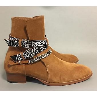 New High-end Luxury Exclusive Ribbon Buckle Strap Genuine Leather Boots