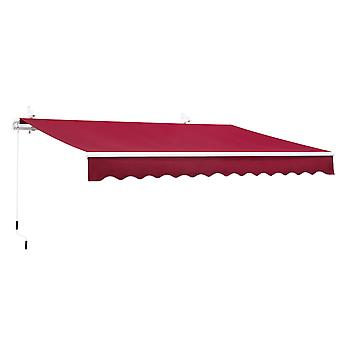 Outsunny 3.5x2.5m Manual Awning Window Door Sun Weather Shade w/ Handle Thick Retractable Canopy Outdoor Garden Shield Wine Red