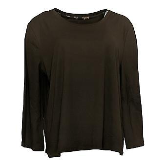 Nogen Kvinder ' s Petite Pajama Top Børstet Jersey Bell Sleeve Brown A386830
