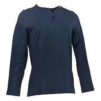 Denim & Co. Damen's Top Anywear Jersey Split V-Ausschnitt Henley Blau A388542