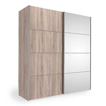 Phillipe Sliding Wardrobe 180cm In Truffle Oak With Truffle Oak And Mirror Doors With Five Shelves