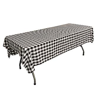 La Linen Polyester Gingham Checkered 60 Por 90 pulgadas mantel rectangular, blanco y negro