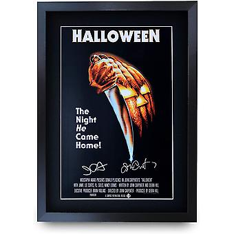 DZK A3 FR Halloween Movie Poster John Carpenter Jamie Lee Curtis Signed Gift FRAMED A3 Printed