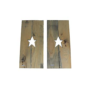 Set of 2 Rustic Cutout Star Decorative Wood Panel Wall Hangings 24 inch