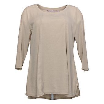 Anybody Women's Top Washed Rib Long Sleeve Seamed Beige A392856