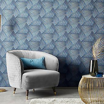 Elle Decoration Geometric D Triangle Wallpaper Blue Gold 1015208