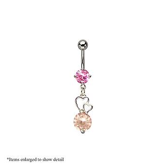 14 Gauge dangling hearts belly navel ring with pink & peach cz gems